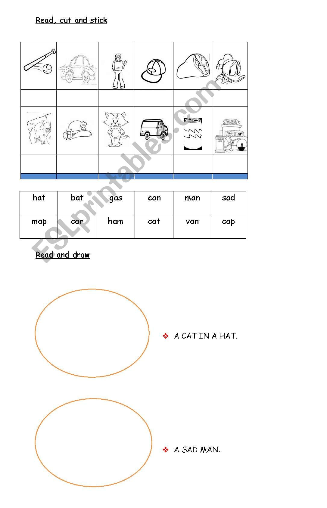 English Worksheets Three Letter Words Matching Word Drawing