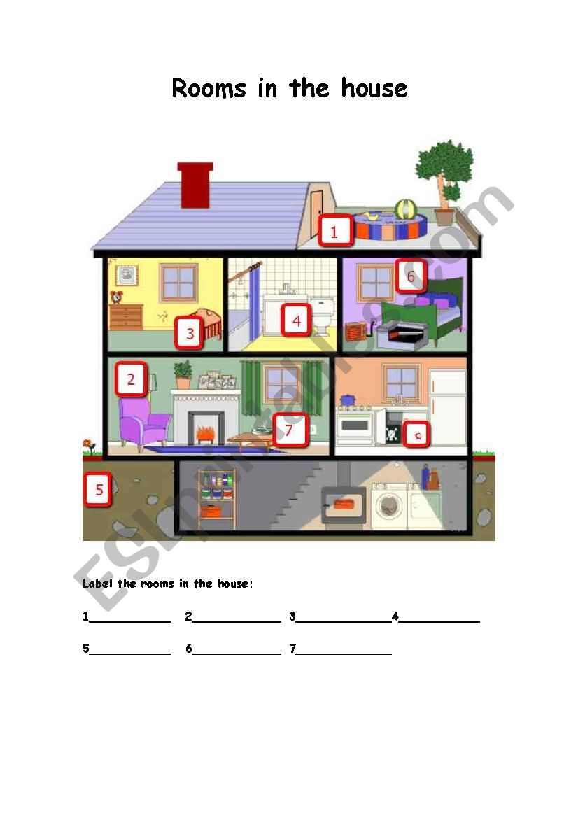 Rooms In The House Label The Rooms In The House ESL Worksheet By Nosolohoy