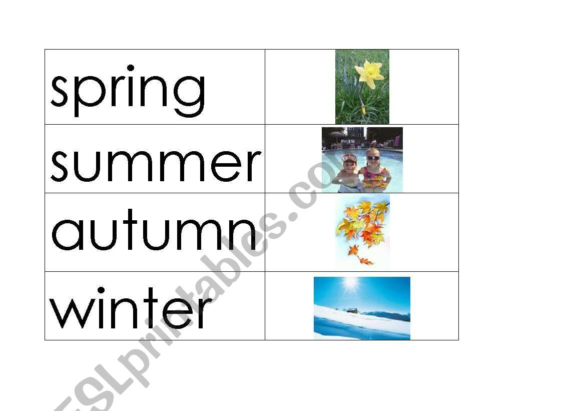 English Worksheets Flashcards Seasons