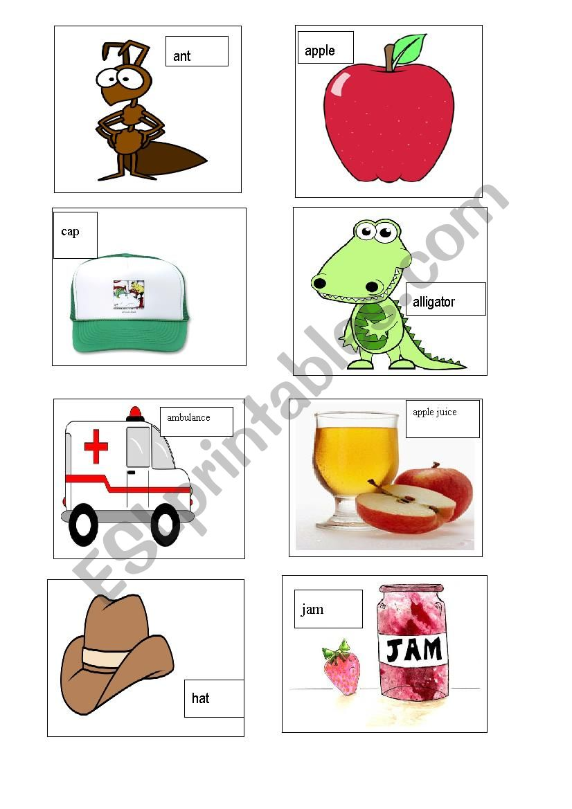 English Worksheets Phonics A Word