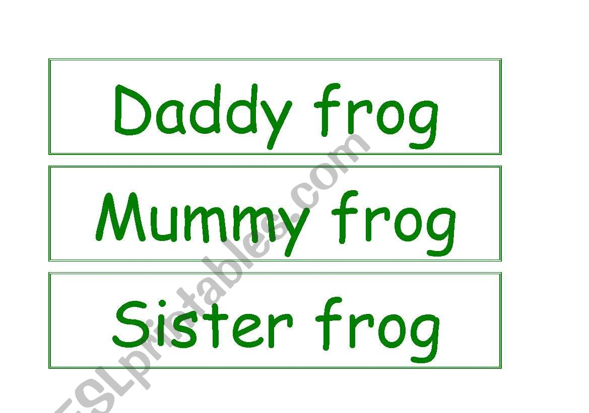 Frog Family Word Flashcards