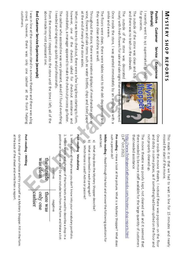 Mystery Shopper - Survey + report writing - ESL worksheet by