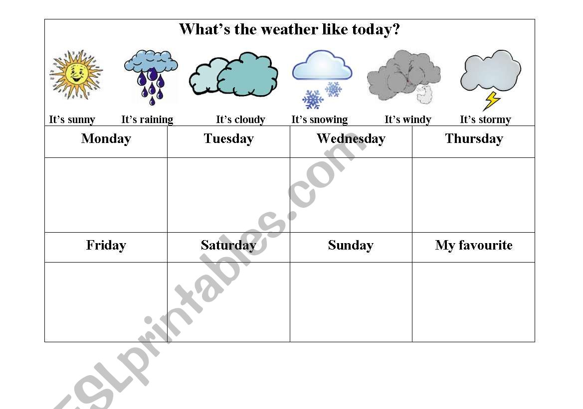English Worksheets Weather Weekly Chart