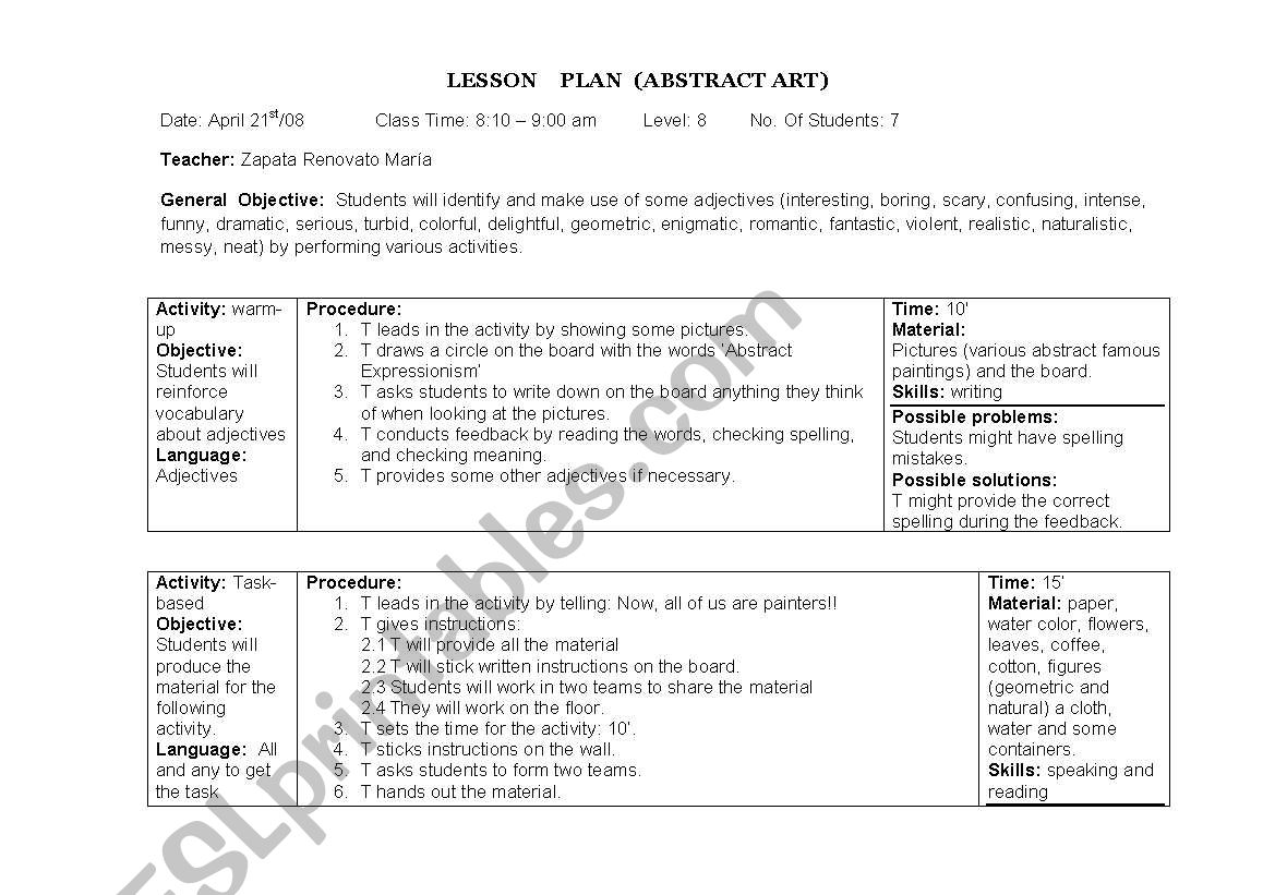 Lesson Plan Abstract Art