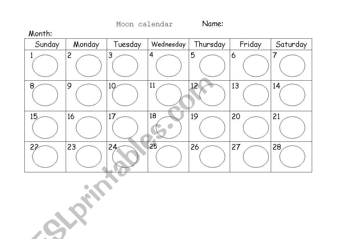 English Worksheets Moon Calendar