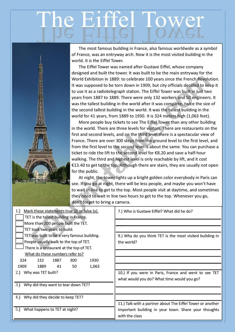 The Eiffel Tower Reading Comprehension Practice Exercises