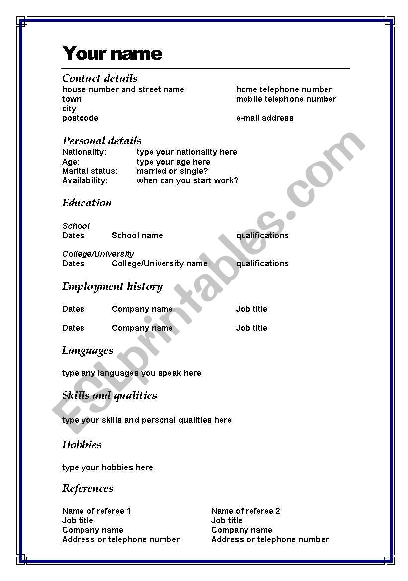 Cv Template In Word