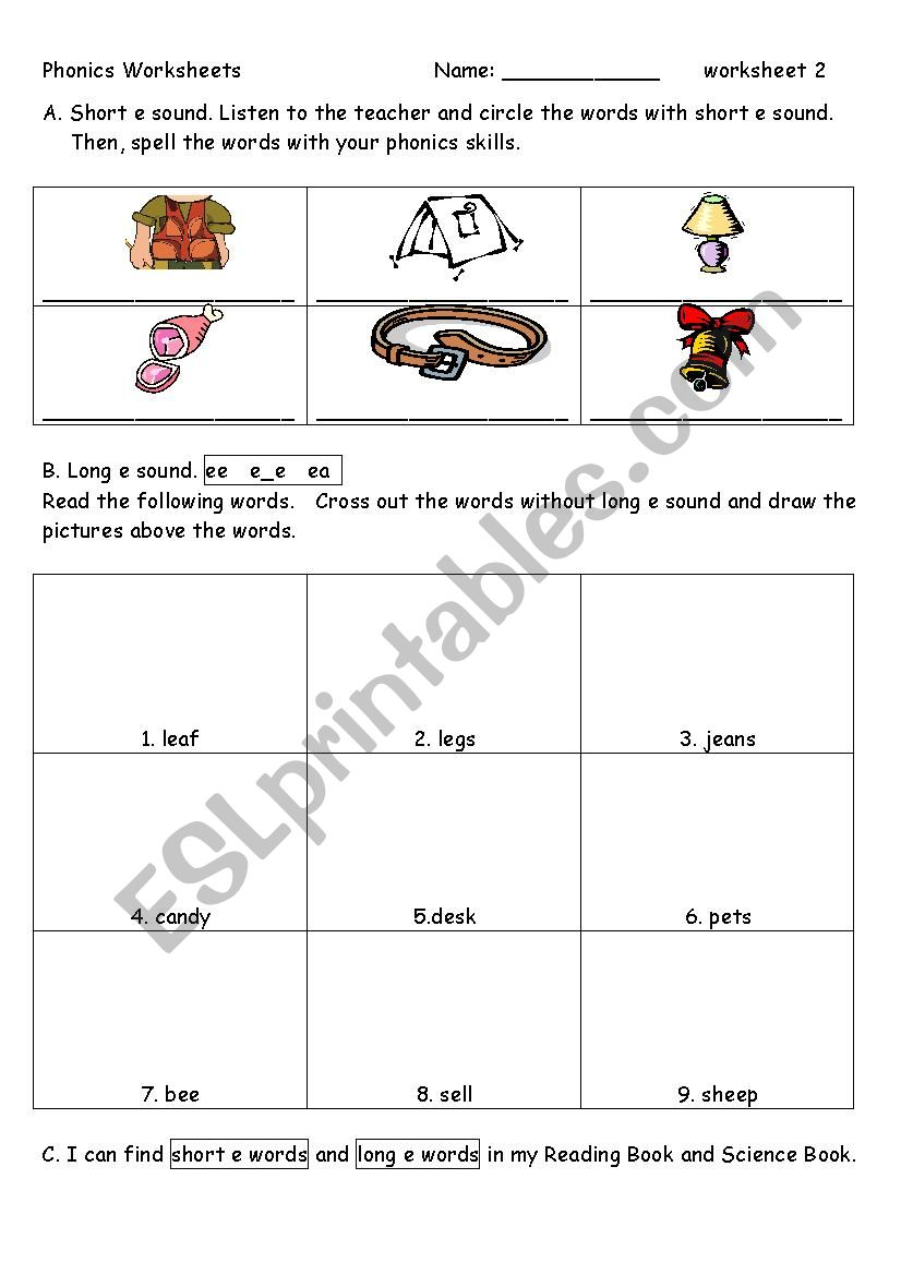 English Worksheets Phonics Worksheet 2 E E E Ee Ea