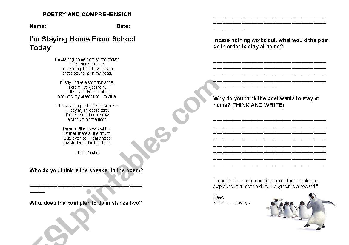 English Worksheets Poetry Comprehension