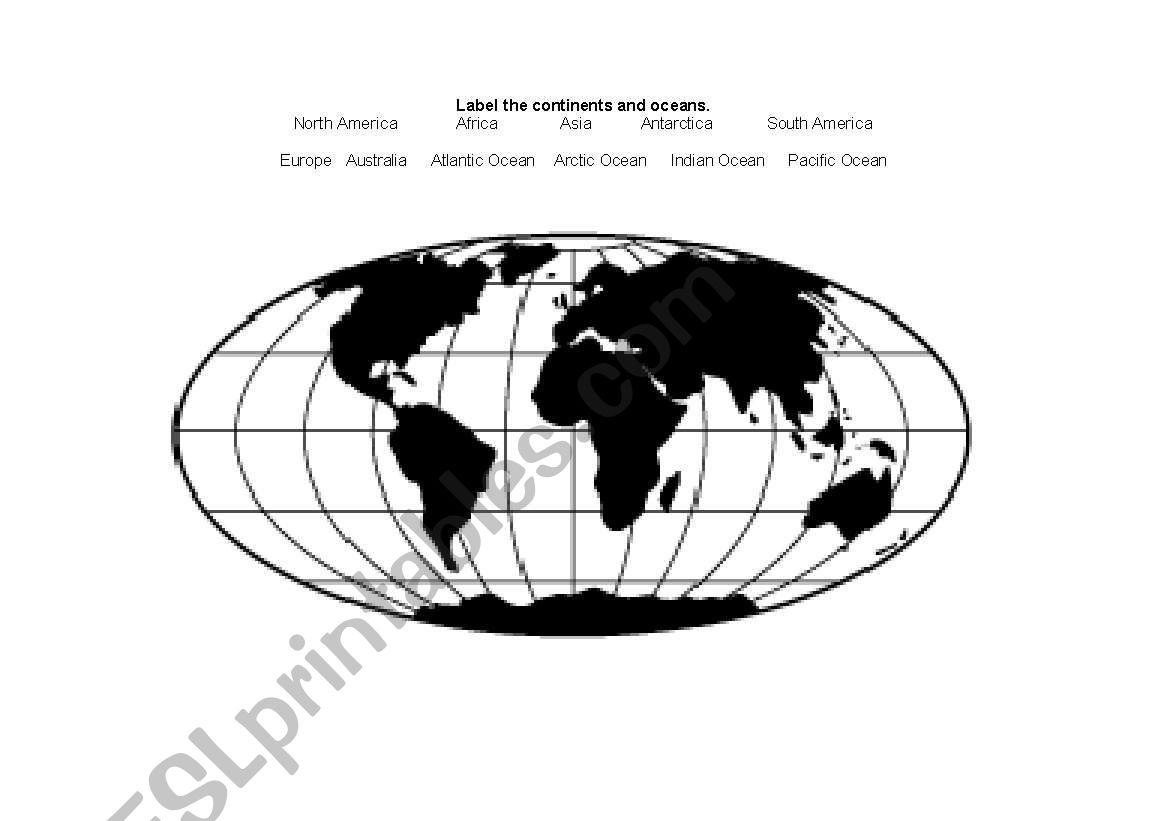 Label The Continents And Oceans Worksheet