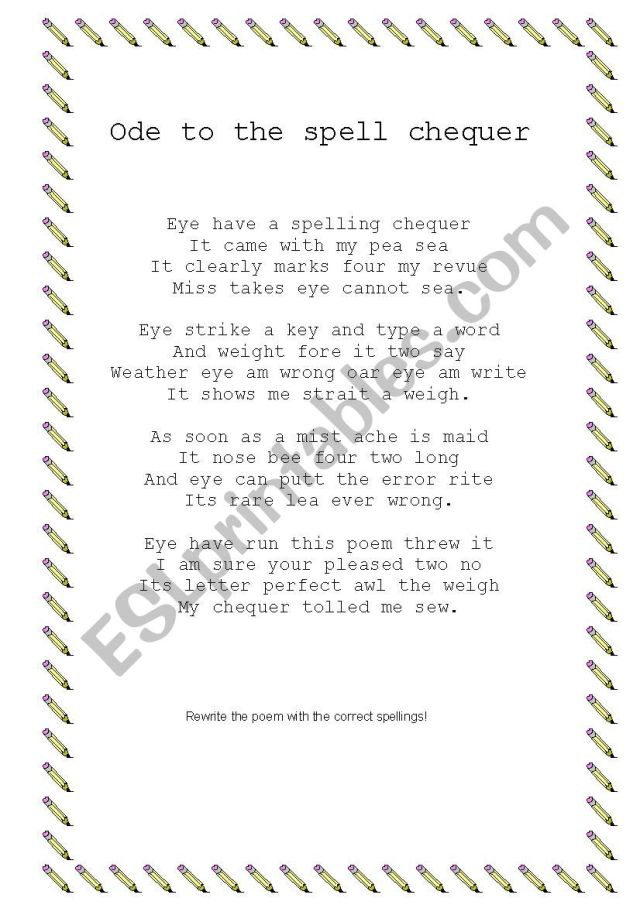 Ode to the spell chequer - ESL worksheet by nonore