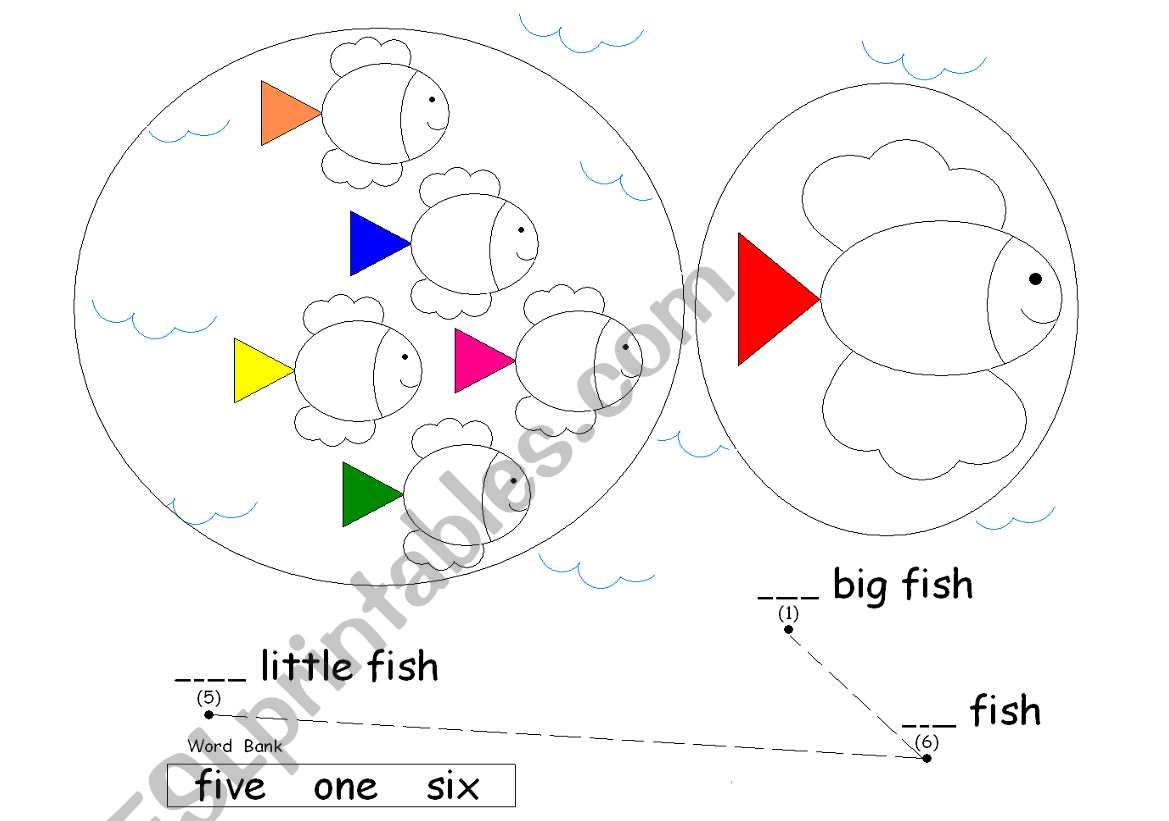 English Worksheets Counting Fish