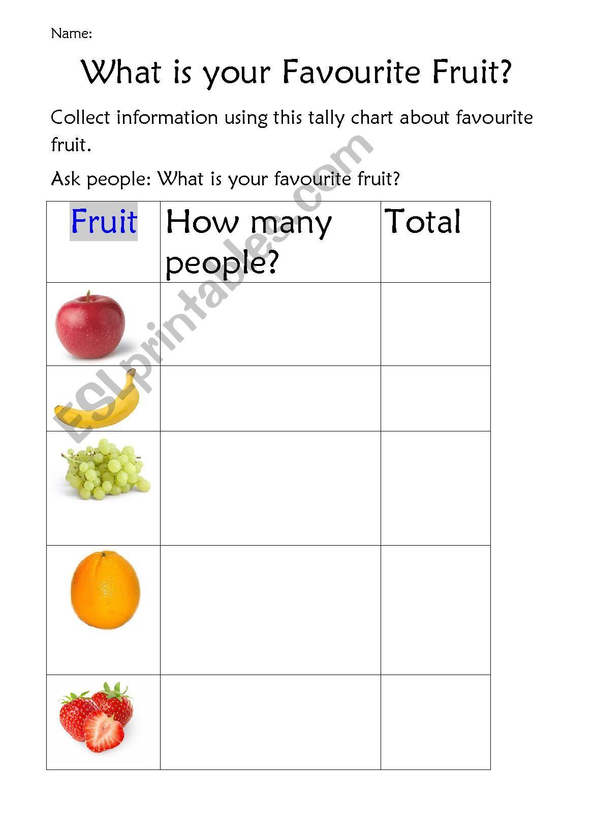 Tally Chart Worksheet