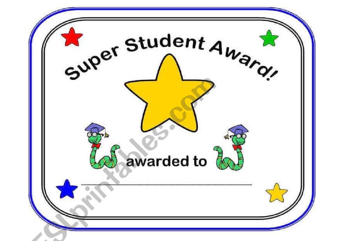 English Worksheets Super Student Award