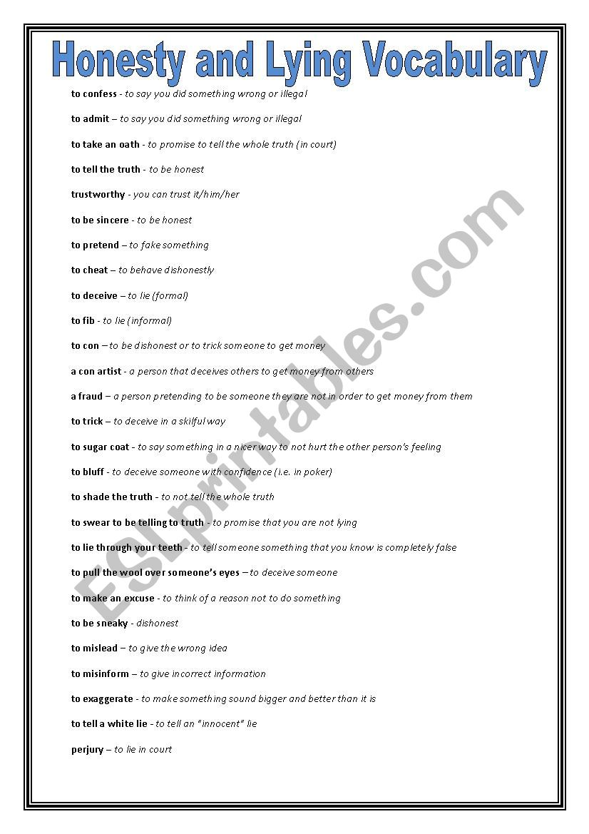 English Worksheets Honesty And Lying Speaking Activity