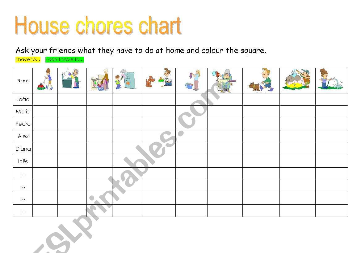 House Chores Chart
