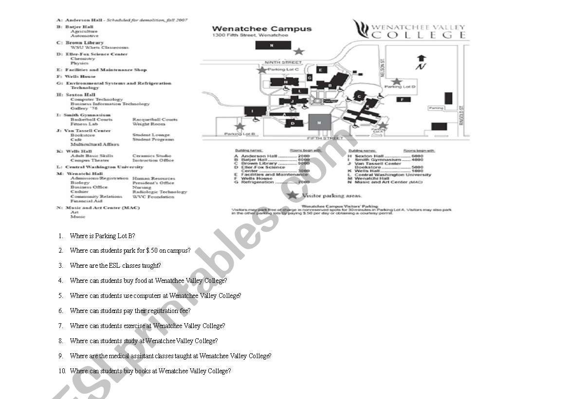 English Worksheets Map Reading