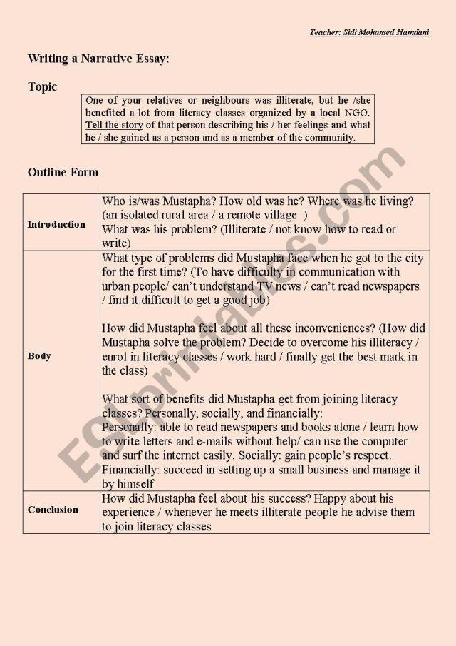 Writing a Narrative Essay: ( Outline form + Sample short essay