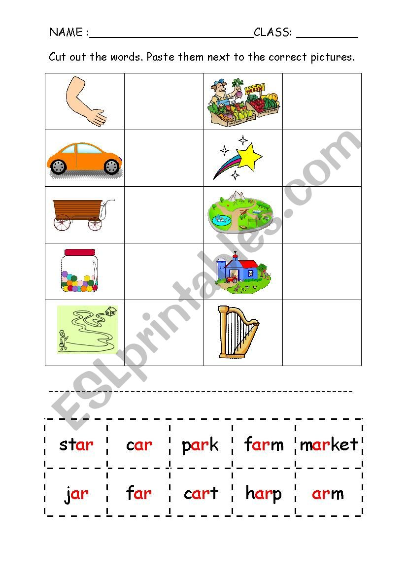 Phonics Ar Cut And Paste Worksheet