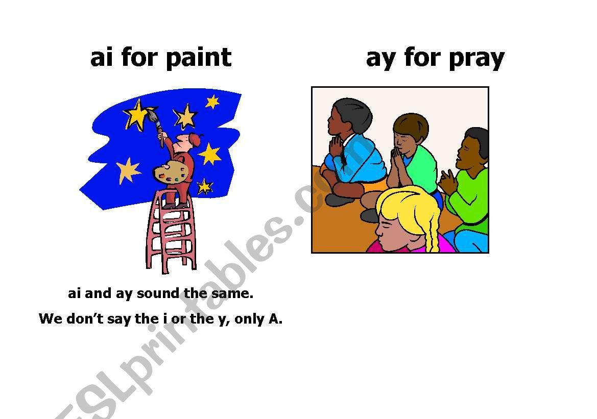 English Worksheets Worksheet Ai And Ay Words