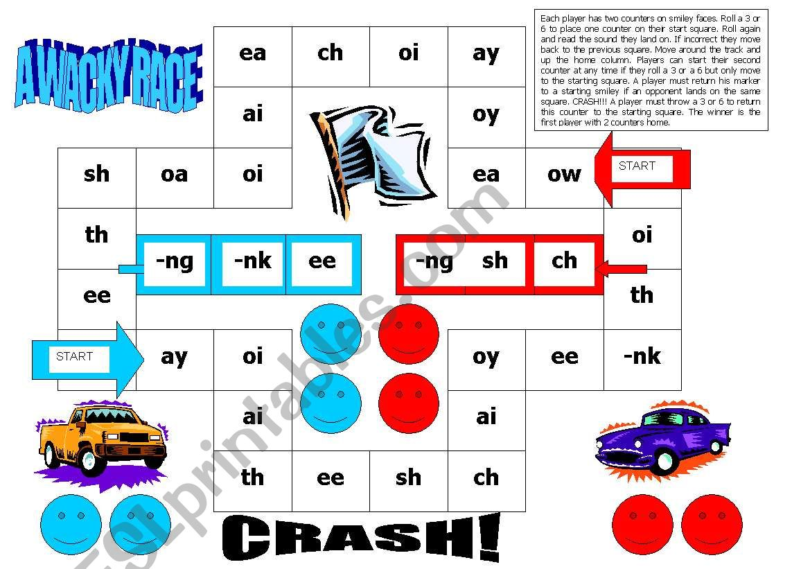 English Worksheets Reading Game Diagraphs