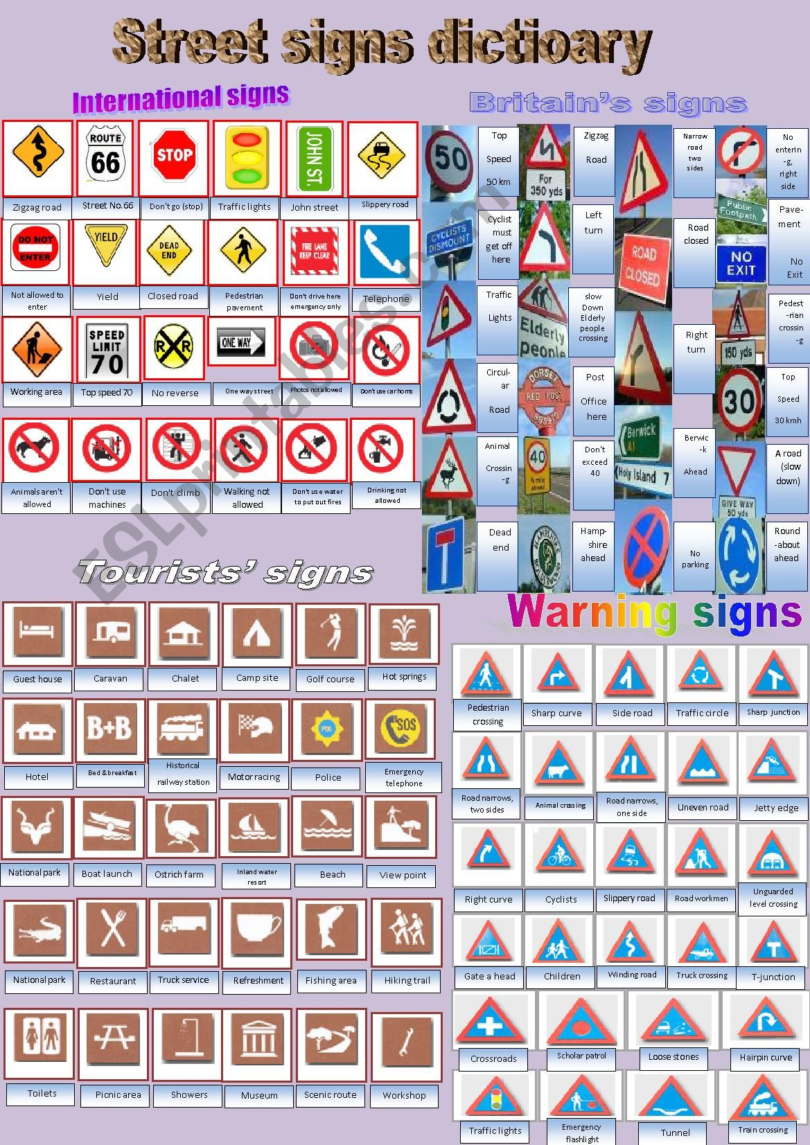 Street Signs Dictionary