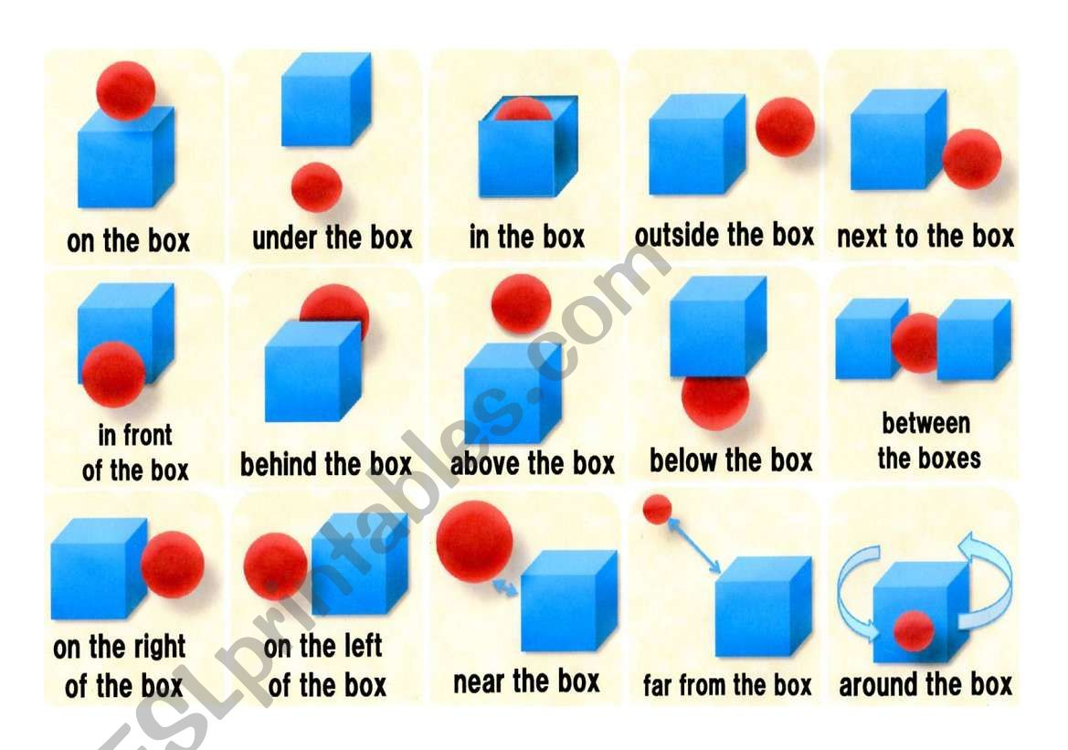 Preposition Flash Cards