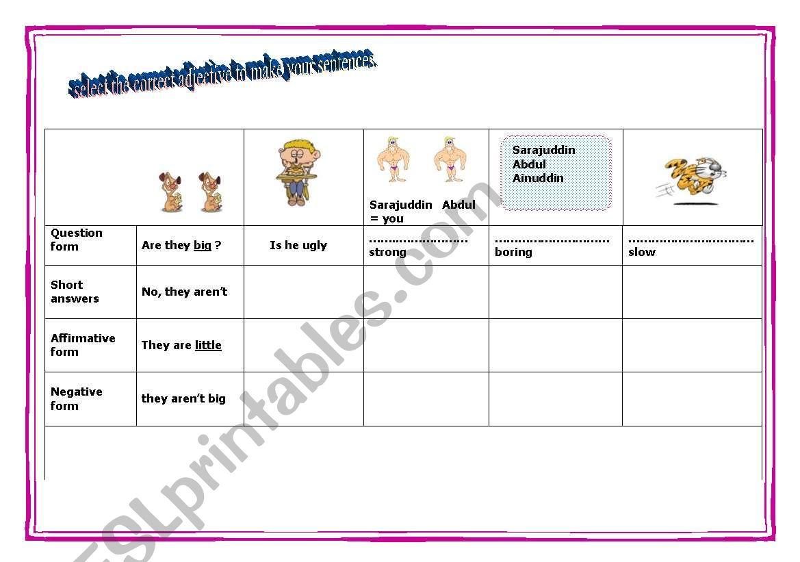 Making Sentences Using Opposite Adjectives