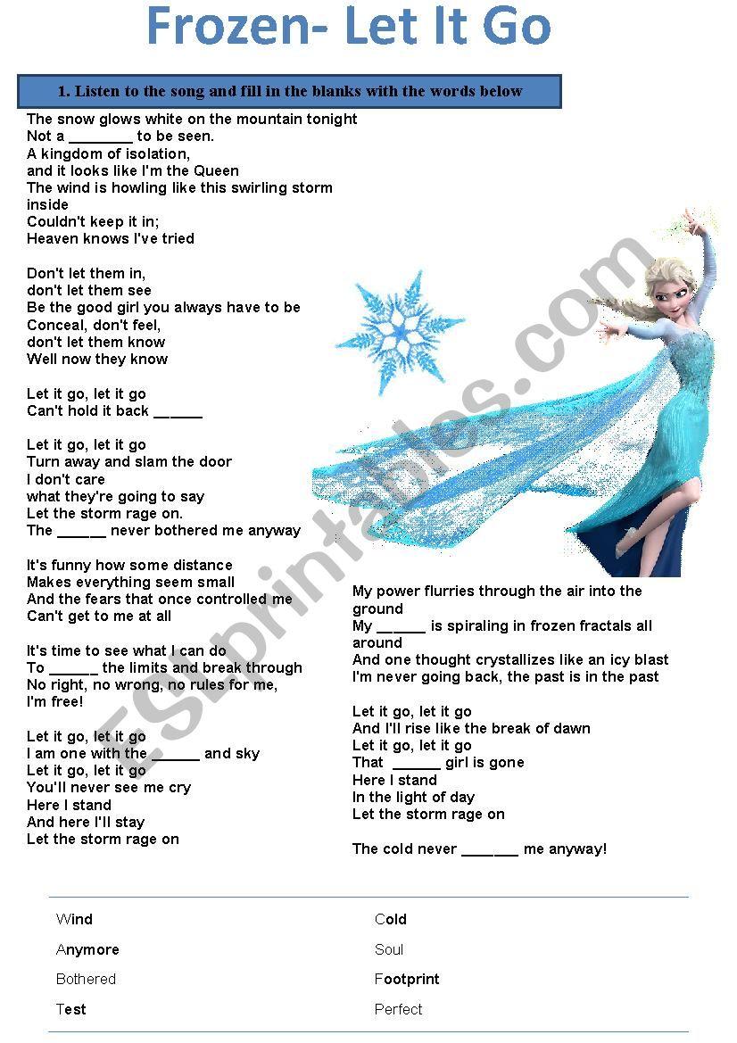 Song Activity Let It Go Frozen