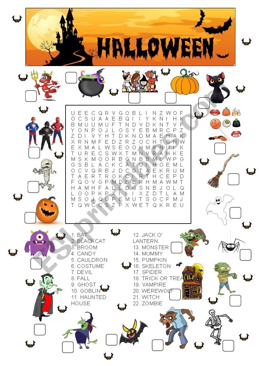 Halloween Match And Wordsearch Esl Worksheet By Slessuisse