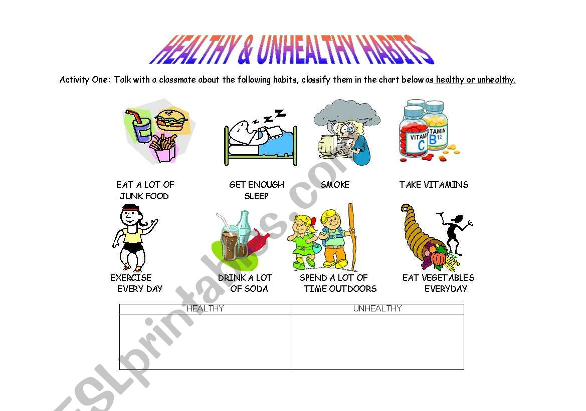 Healthy Habits Worksheet