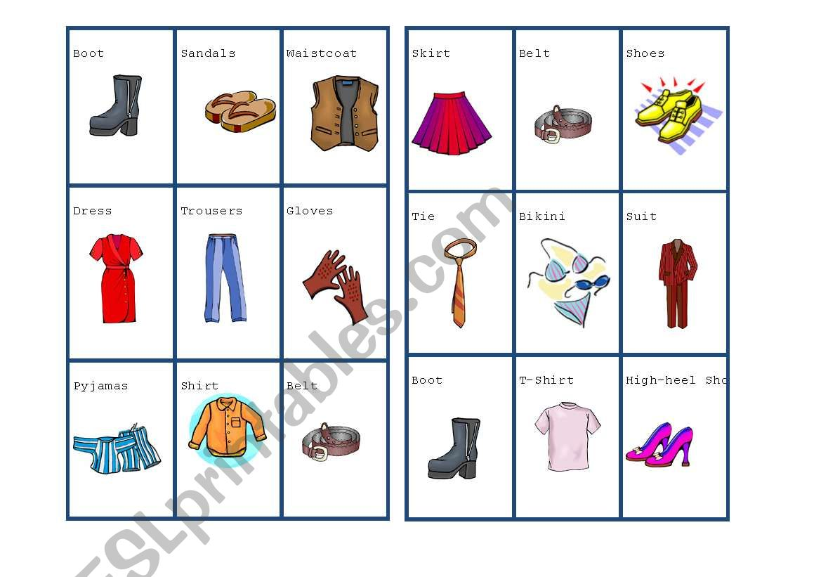 Color Code Worksheet Clothes