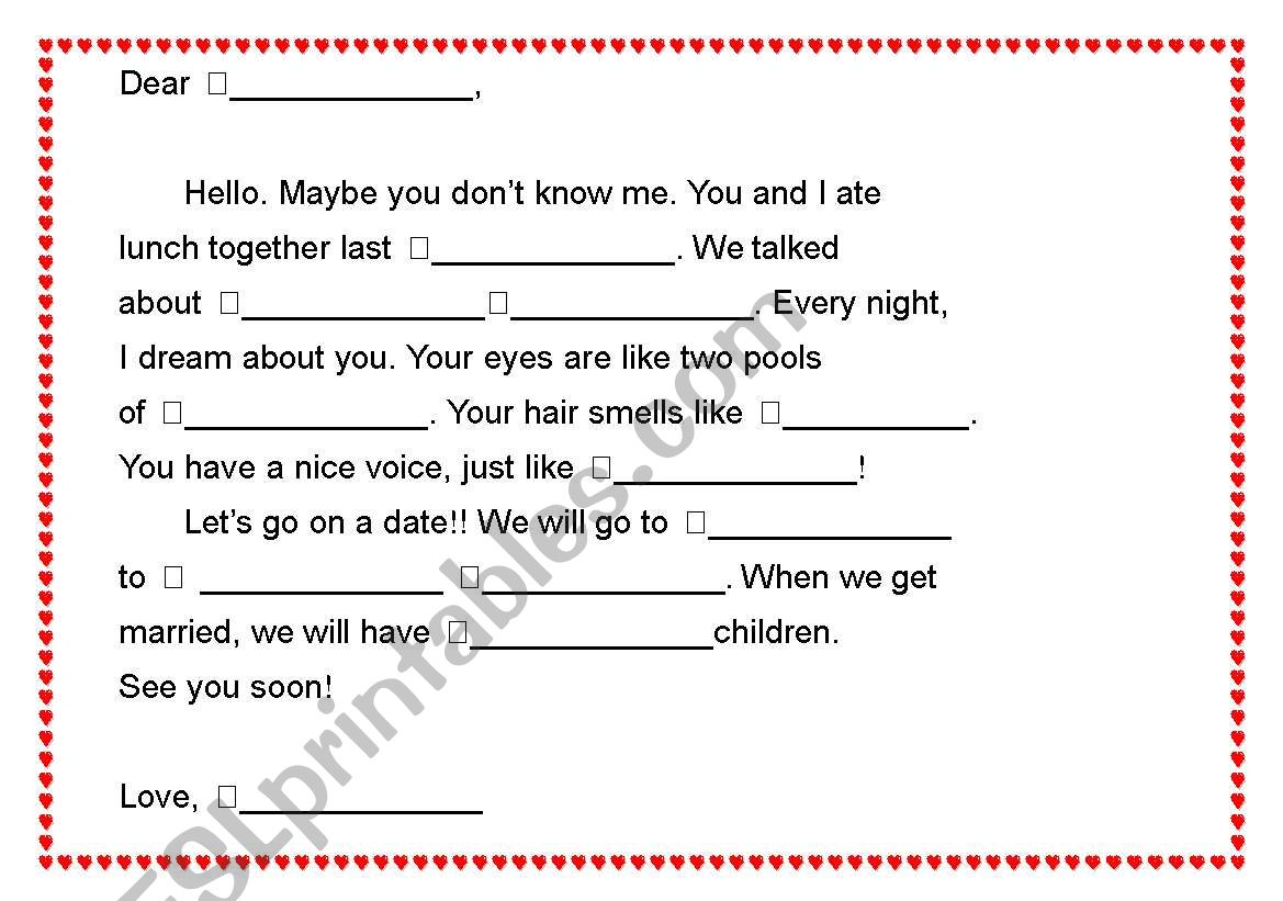 English Worksheets Mad Libs A Love Letter 2