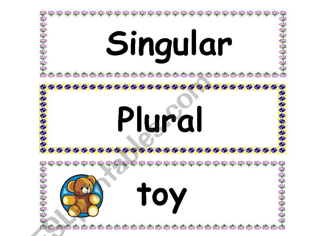 Flashcards Singular And Plural Part 1