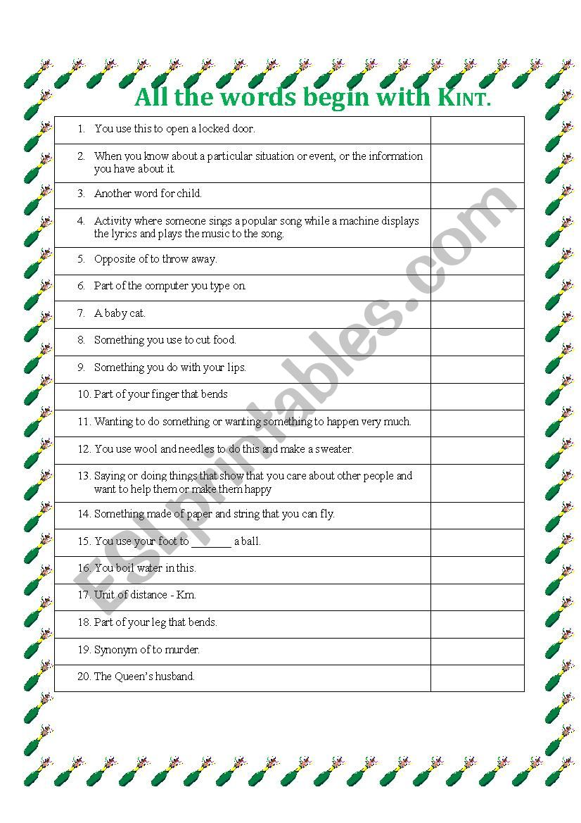 All The Words Begin With K Intermediate Esl Worksheet By Anahutten