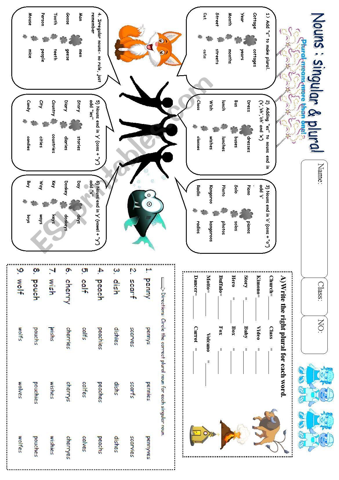 Singular And Plural Worksheet