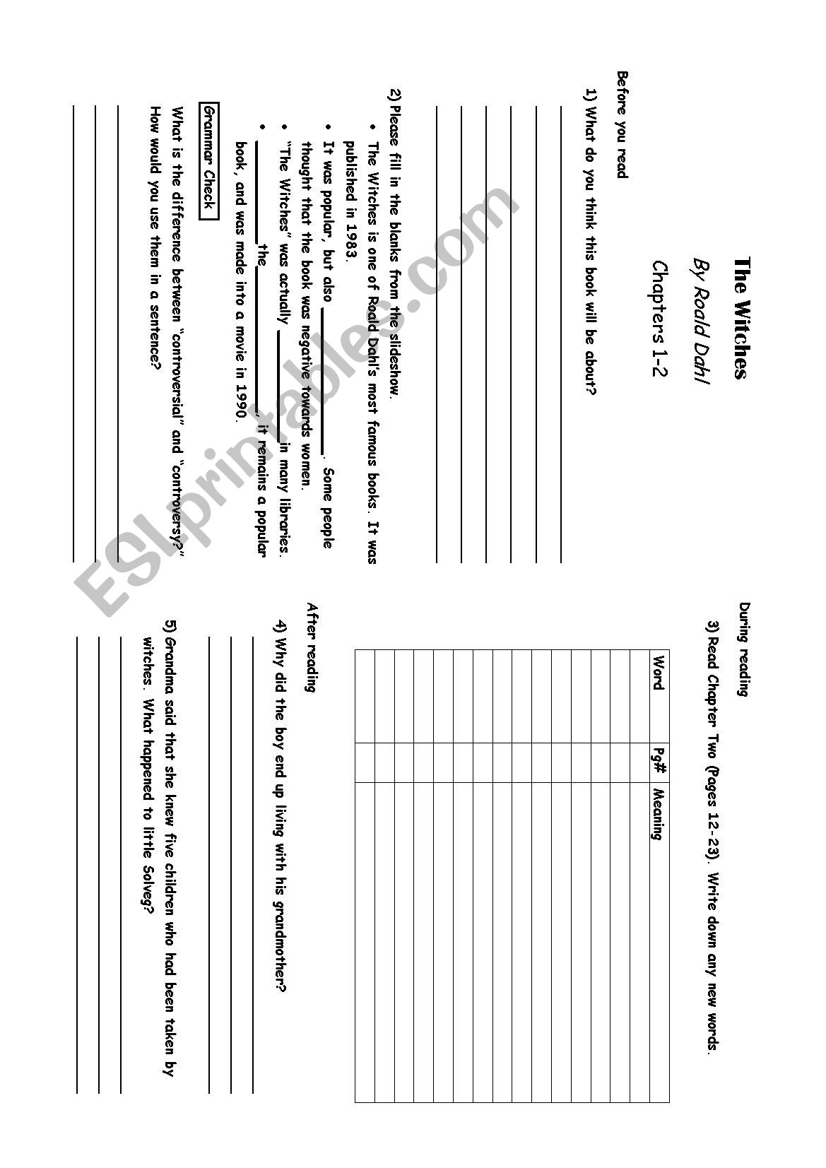 The Witches Worksheet Introduction