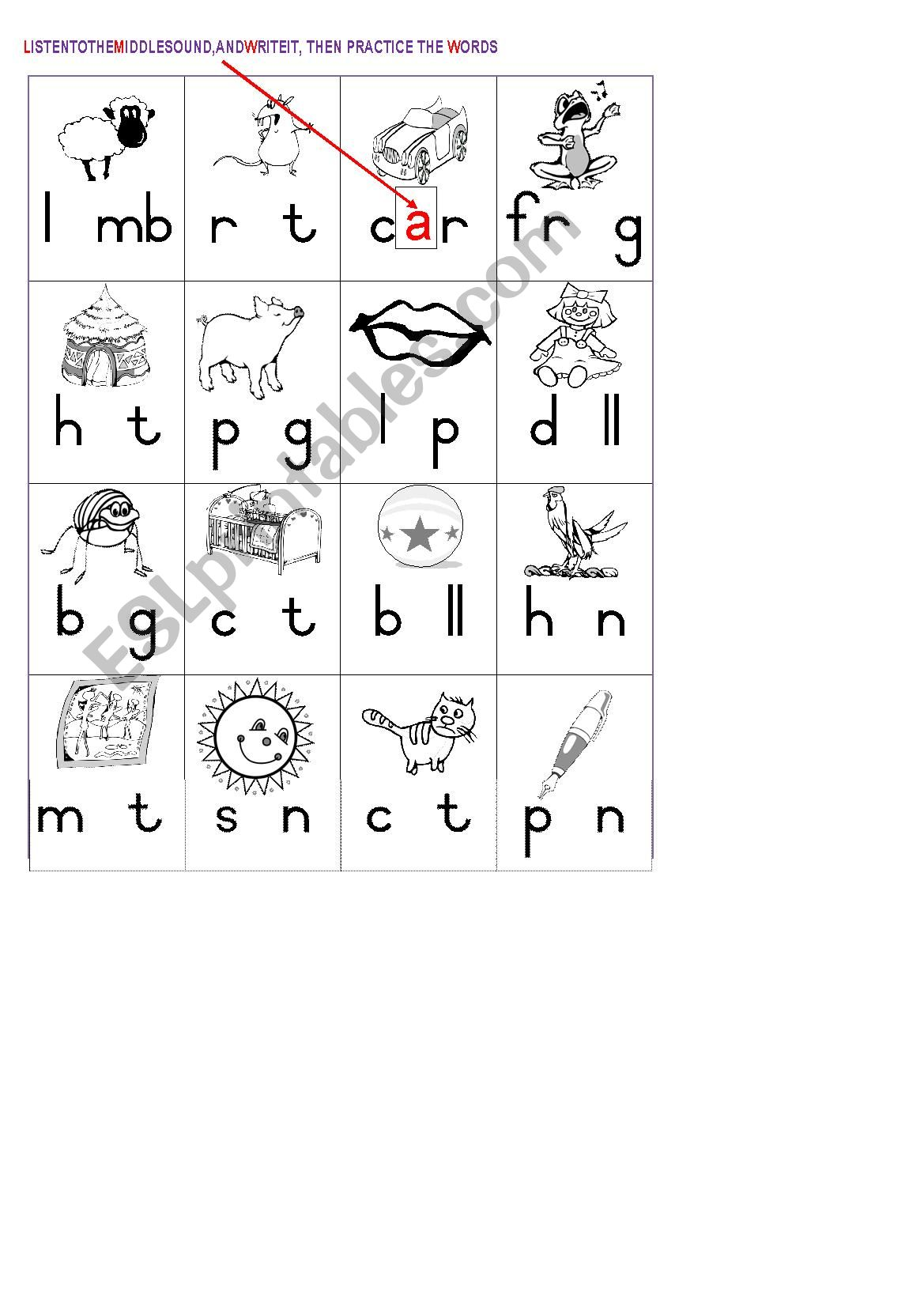 Middle Sounds Vowels Worksheet