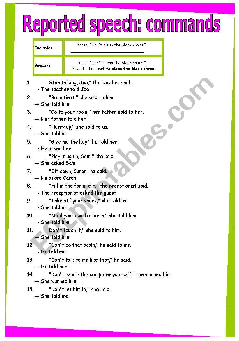 Reported Speech Commands Grammar Worksheet 29