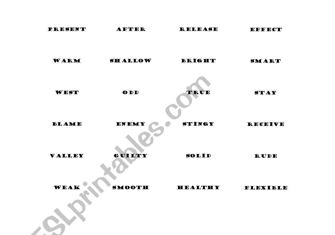 English Worksheets Antonym Bingo Words
