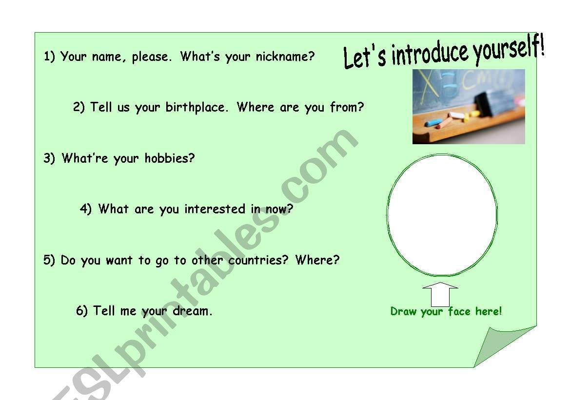 English Worksheets Self Introduction