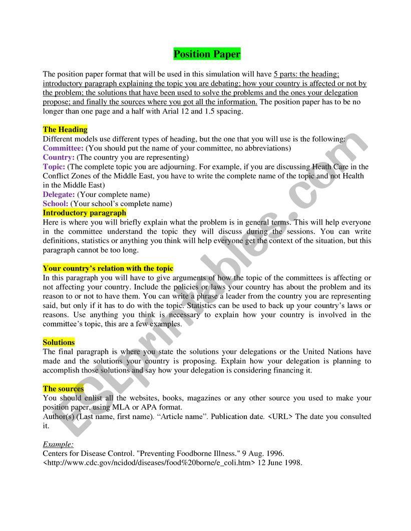 Position Paper Format Mun : Most model un conferences require