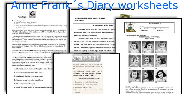 Anne Frank S Diary Worksheets