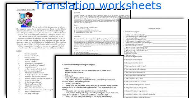 English Teaching Worksheets Translation