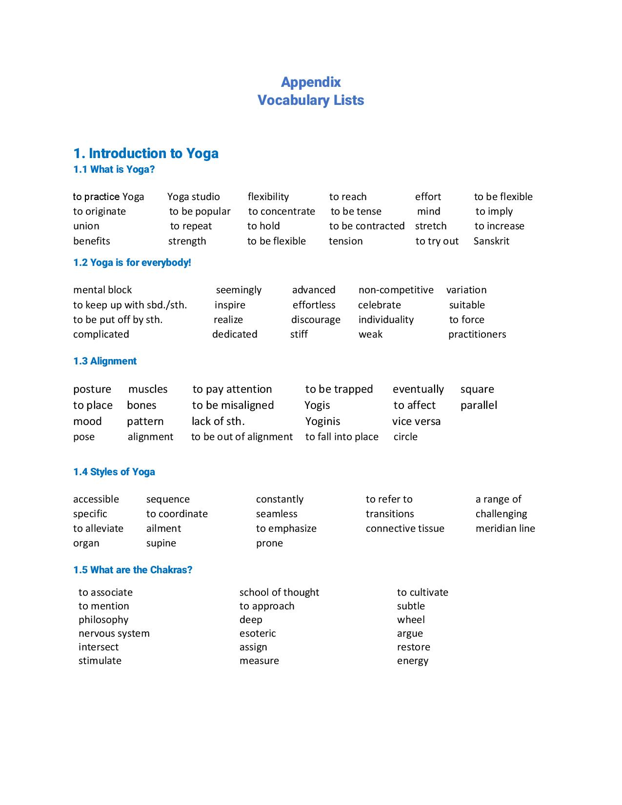The Comprehensive Esl Yoga Study Book For Esl Teachers And Students
