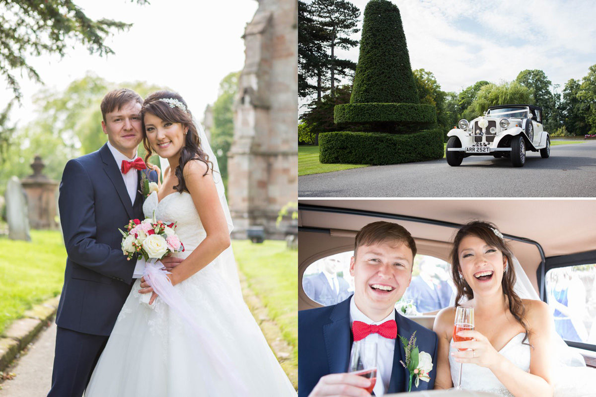 Bride and Groom in wedding Car at Brockencote Hall