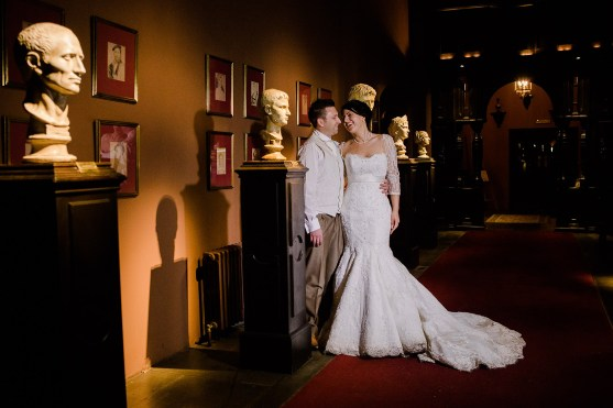 bride groom portrait in hall of heads coombe abbey Warwickshire