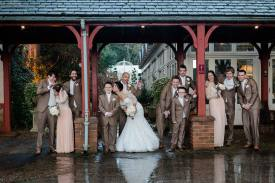bridal party rainy day coombe abbey wedding vintage glamour relaxed