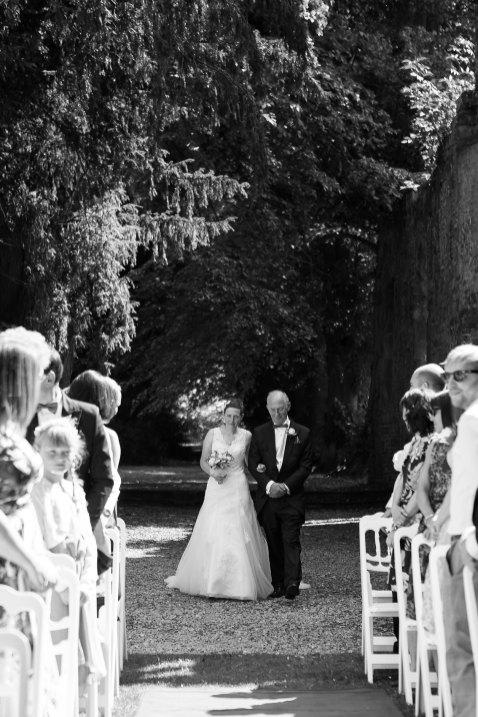 bride walk down aisle wedding ceremony bell tower ettington park outdoor ceremony