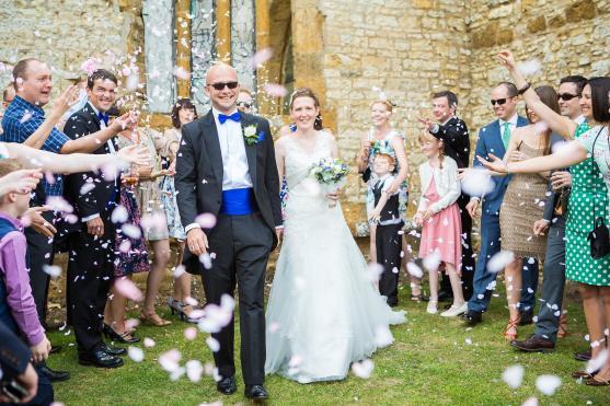 confetti bride groom guests wedding ettington park hotel stratford